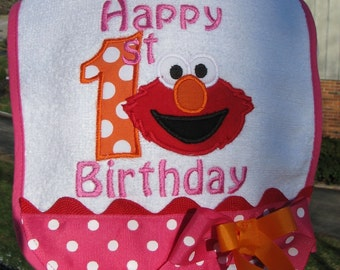 elmo birthday bibs, 1st birthday,  2nd birthday,  elmo birthday,  smash cake  bib,  happy birthday  bib, elmo party