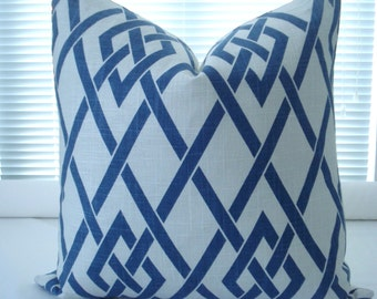 LINEN--Blue Throws and Lumbars-Decorative Pillow Cover-Geometric - Designer Fabric - Blue & Off White  Pillow-