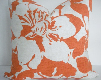 BOTH SIDES -Clementine PKaufman -Peony - Decorative Designer Pillow cover-tangerine. clementine --natural  and white Throw/Lumbar Pillow