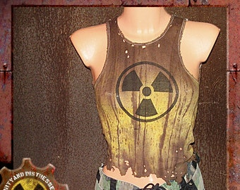 Made to Order a Womens One of a Kind Radioactive Yellow Dirty and Distressed Wasteland Tank Top