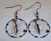 30MM Dream Catcher Earrings With Garnet Clip On or Pierced You Choose Native American Made