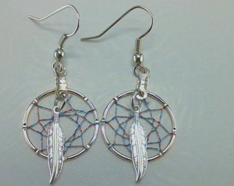 WOVEN WAYS Small Dream Catcher Earrings Clip On or Pierced You Choose Native American Made
