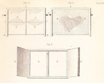 Antique Vintage Bee Print dated 1840 . Mr Dunbar's experimental hive . plate 12 . original old engraving illustration chart