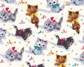 Kitties Michael Miller Fabric Cat Kitten Fabric Remnant 25""