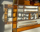 stained glass window panel with amber gold beveld glass