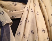 little anchors printed sheer scarf in cream and navy, large rectangular scarf