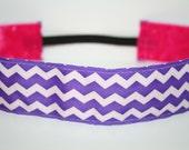 Thick Purple & White Chevron No Slip HeadBand