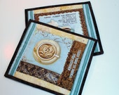 Coffee Mug Rugs or Coasters or Pot Holders, set of two in Blue and Brown, DeJa Brew by Studio E Fabrics