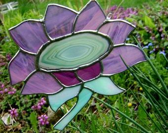 Sunflower Daisies Flowers Stained Glass Valetines Halloween Autumn Harvest Garden Wedding Purple Mothers Day Birthday Housewarming