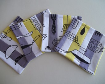 Mid Century Modern Atomic Fabric Coaster Set of 4 Yellow & Gray