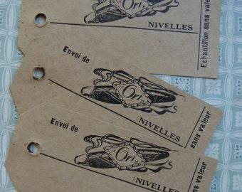 3 Antique Paris Luggage Tags