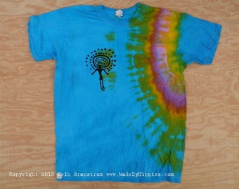 Blue Shaman Tie Dye T-Shirt (Fruit of the Loom Size Youth M) (One of a Kind)