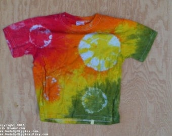Rainbow Spots N Dots Tie Dye T-Shirt (Fruit of the Loom Size Youth S 6-8) (One of a Kind)