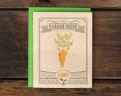 Carrot Seeded Letterpress Greeting Card - Vegetable Garden Plantable Eco Stationery