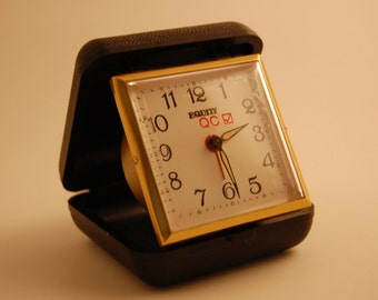 Vintage Equity Quality Check Travel Alarm Clock in Black Case