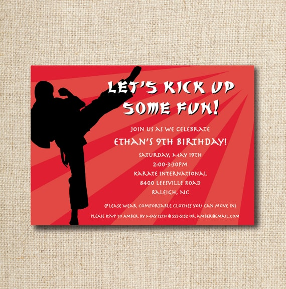 Karate birthday party invitation custom printable file – Martial Arts Birthday Invitations