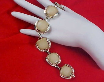 OLD CELLULOID Ivory Colored Link Silver Tone Bracelet