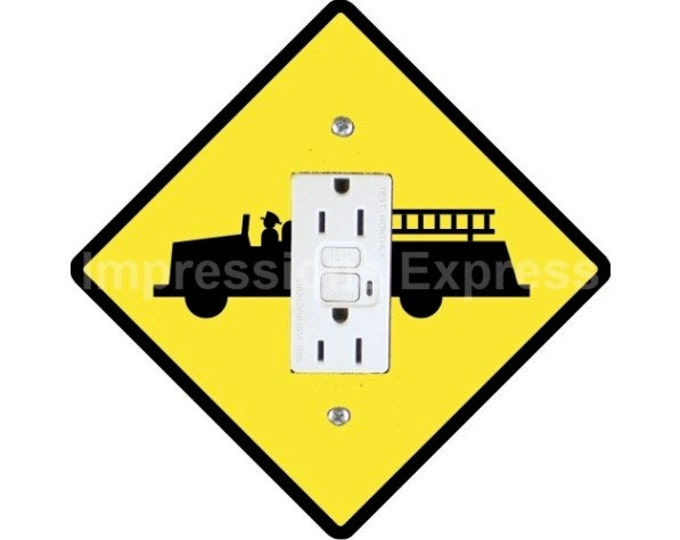 Fire Department Sign Grounded GFI Outlet Plate Cover