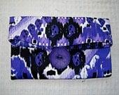 Purple Foldover Clutch Bag, Purple Ikat, Tribal Print Clutch Bag