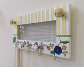 Hanging Jewelry Screen Frame Organizer, Hand Painted With Floral Decoupage