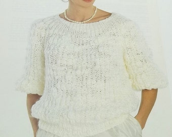 Vintage woman pullover in pearl rib stitch knitting pattern size 38/42 by Geoges Picaud no 2100