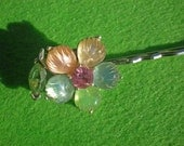 Multi Pastel Flower Vintage Earring Repurposed Hair Pin