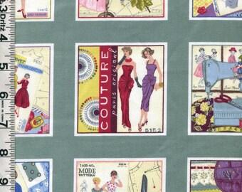 Fabric Makower SEW RETRO Postcard PANEL of 50's Sewing Fashions Patterns notions