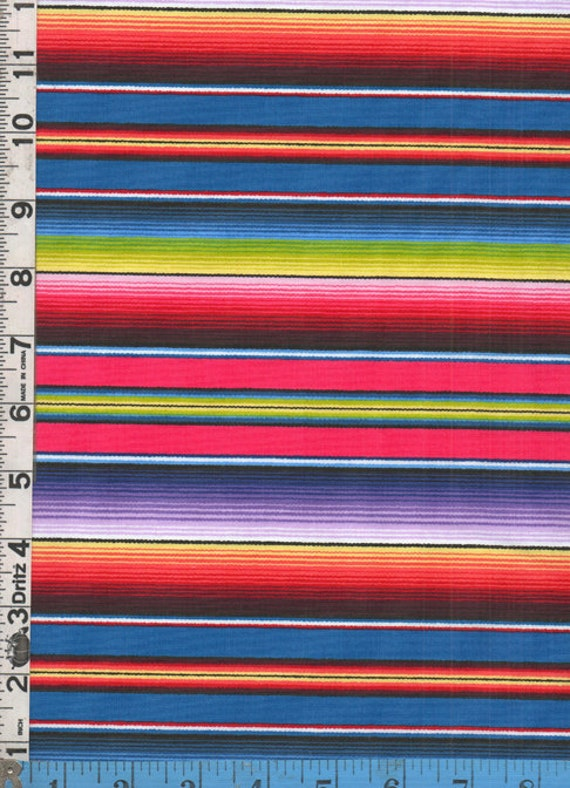 Fabric Elizabeth's Studio FIESTA SERAPE stripe blue by ...