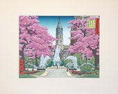 100 Famous Views of Philadelphia: Swann Memorial Fountain at Logan Square, large matted print