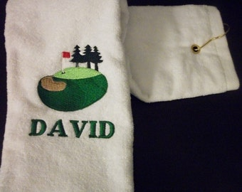Personalized Golf Towel - Embroidered golf hole with sandtrap, flag, and green - Perfect gift for your Golfer---