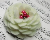 Cashmere Flower Brooch Pin in Winter White with Pink Pearl Vintage Earring Center
