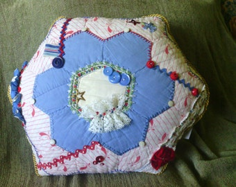 Red White Blue Hexagon Crazy Quilt Pillow