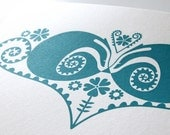 Sleeping Badgers in Curly Ferns & Campion Flowers - An Original Hand Pulled Gocco Screenprint
