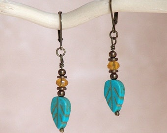 Carved Turquoise Leaf Dangle Earrings