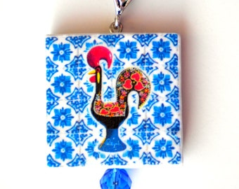 Portugal Antique Blue Azulejo Tile Replicas, 1671 - Necklace from PORTO - with ROOSTER or Galo de Barcelos