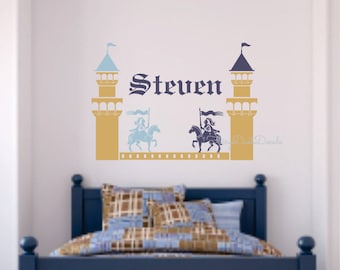 Wall Decal Knights jousting - includes castle towers and personalized name - boy name wall decal - medieval castle with knights and horses