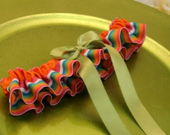 Bright Stripes Skirted Bridal Garter...Custom Colors Available..shown with bright sage green accent