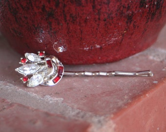 H87 Vintage Rhinestone Silver Red Cluster Diamond Clear Upcycled Hair Pin
