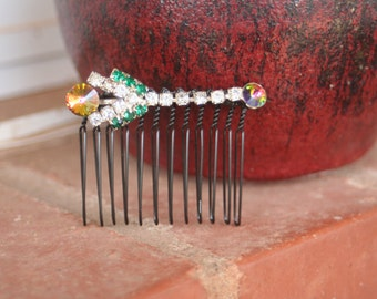 H13 Funky Rainbow Rivoli Tulip Flower Emerald Diamond Rhinestone Upcycled Vintage Hair Comb