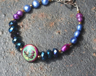 MOOD BEE MIRAGE Polymer Bead Freshwater Pearl Chinese Crystal Sterling Silver Bracelet