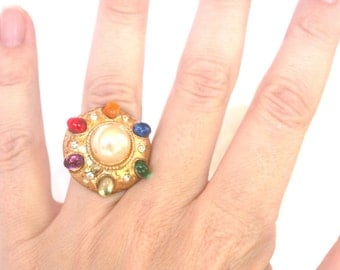 R21 Upcycled Rainbow Diamond Pearl Adjustable Cocktail Ring