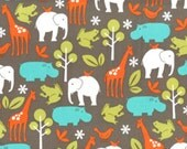 WINTER SALE - FLANNEL - Zoology in Dirt - 1 Yard - by Michael Miller Fabrics - Fx4061