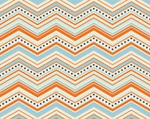 WINTER SALE - FLANNEL - One For The Boys - 1 Yard - Chevron in Orange - Sku F3172 - by Zoe Pearn for Riley Blake Designs