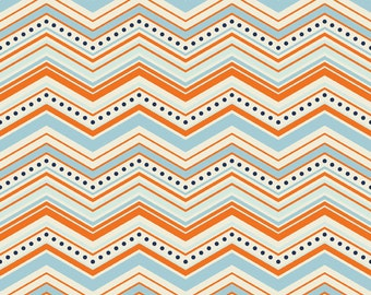 SPRING SALE - FLANNEL - 1 yard 15 inches - One For The Boys - Chevron in Orange - Sku F3172 - by Zoe Pearn for Riley Blake Designs