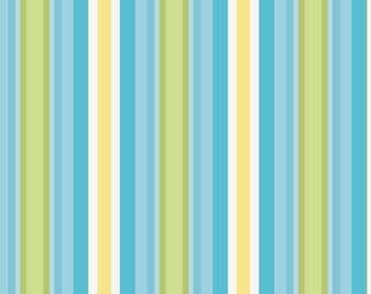 SPRING SALE - 1 5/8 yards - Priscilla - Stripe in Blue - sku C3366 - by Lila Tueller for Riley Blake Designs