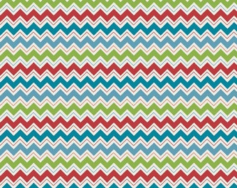 SALE - Hooty Hoot Returns - FLANNEL -  Chevron in Blue - sku F3444 - 1 Yard -  by  Doohikey Designs for Riley Blake Designs