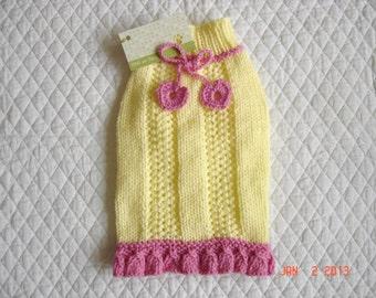 Ruffled Dog Sweater, Hand Knit Pet Sweater, Size XSMALL, Heart Strings Yellow