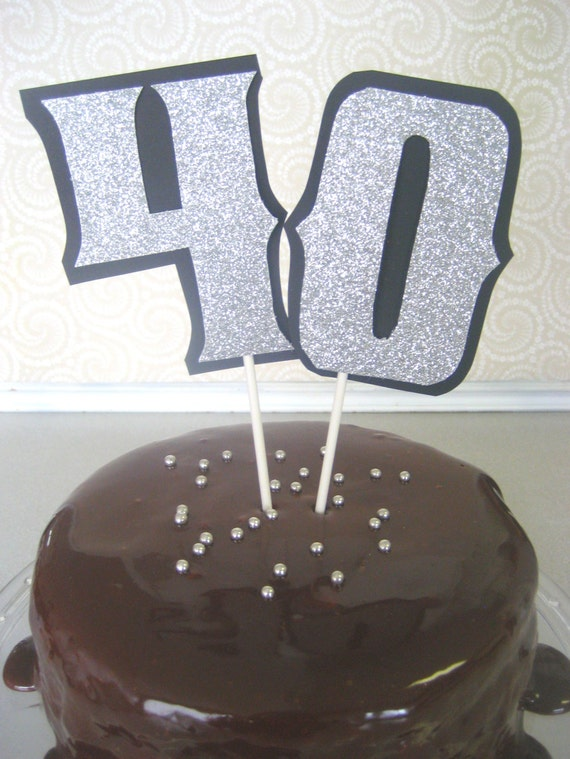 Cake Topper or Centerpiece- 40th Birthday, 40th Anniversary, 50th Birthday, 50th Anniversary - Glitter