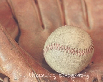 Vintage Baseball with Glove Photography Print