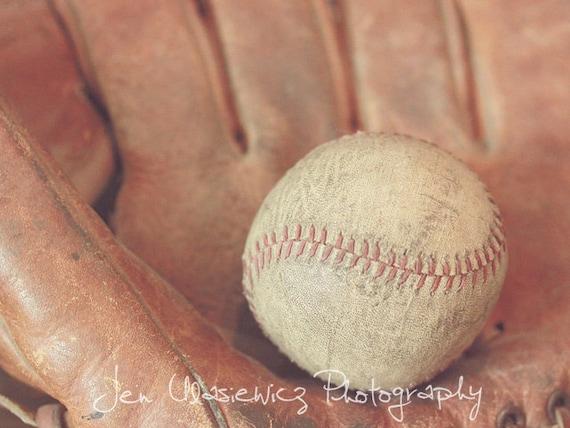 Vintage Baseball with Glove Photography Print